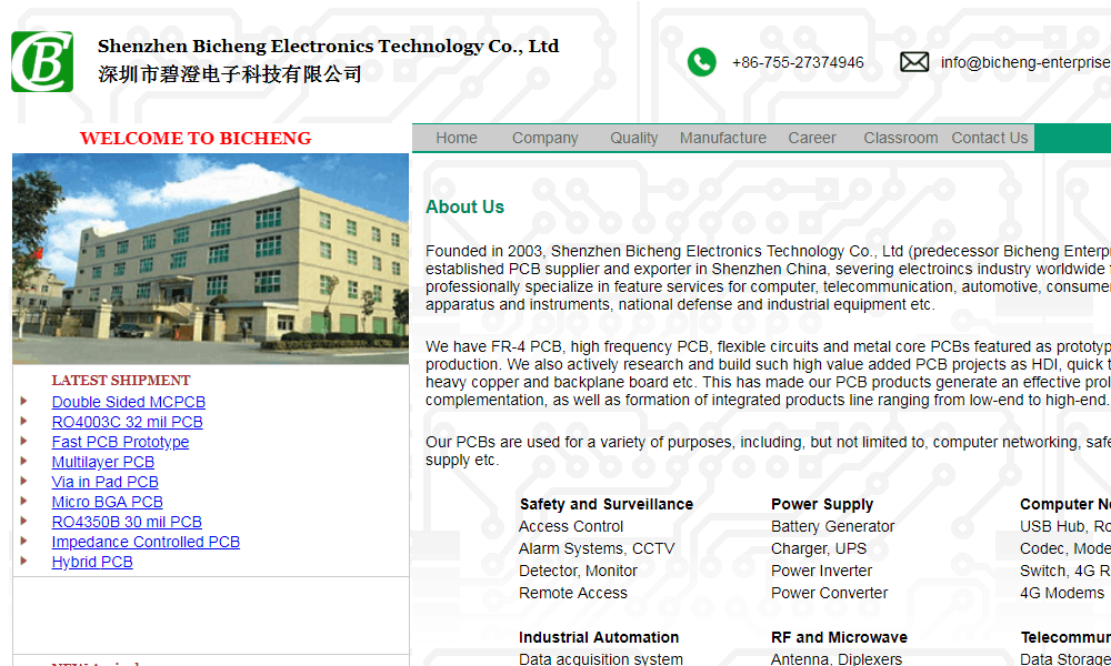 China PCB Manufacturer Bicheng Enterprises Limited